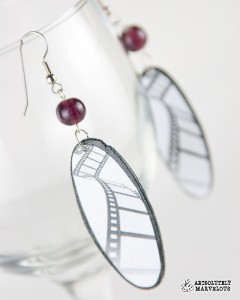 Film Director Oval with Purple Bead Handmade Earrings