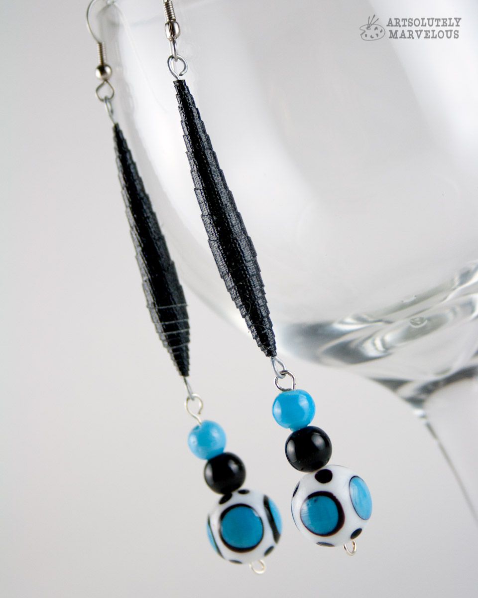 Black and Blue Polka Dot Gaffer Tape Bead Earrings